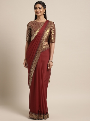 Maroon woven georgette saree with blouse