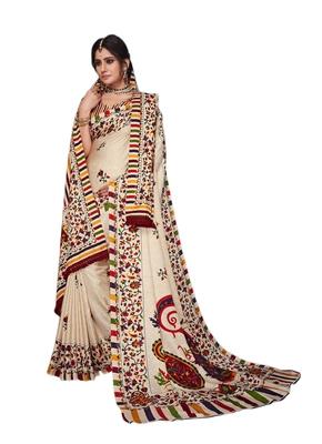 Multicolor printed pashmina saree with blouse