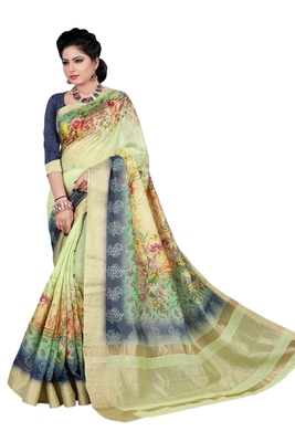 Navy blue printed jacquard saree with blouse