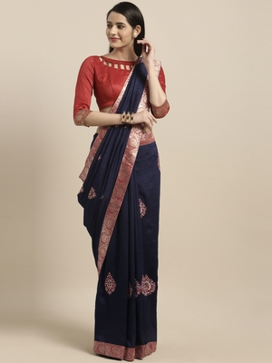 Navy blue embroidered silk blend saree with blouse
