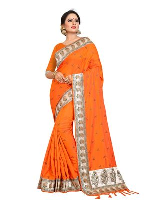 Orange embroidered art silk saree with blouse