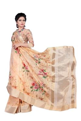 Peach printed jacquard saree with blouse