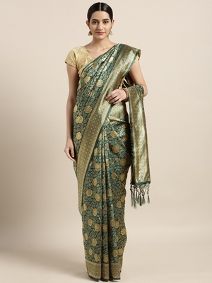 Teal woven art silk saree with blouse