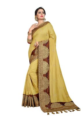 Yellow embroidered art silk saree with blouse