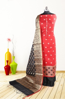 Women's red woven banarasi unstitched salwar with dupatta