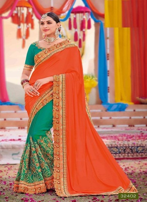 Orange embroidered silk saree with blouse