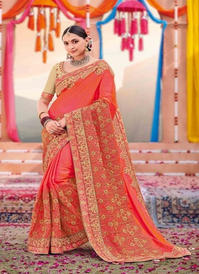 Peach embroidered satin saree with blouse