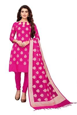 Women's pink woven banarasi unstitched salwar with dupatta
