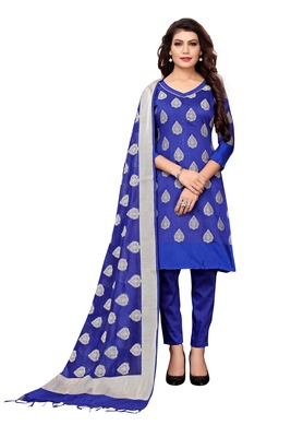 Women's blue woven banarasi unstitched salwar with dupatta