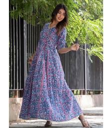 INDIGO BLUE GOTA FLOOR LENGTH DRESS