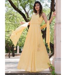 GOLDEN ANGRAKHA ANARKALI WITH DUPATTA