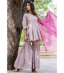 GREY PEPLUM TOP AND GHARARA SET
