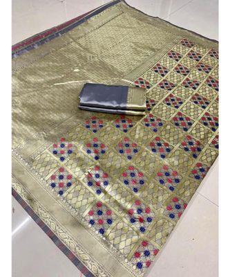 Silver woven banarasi saree with blouse