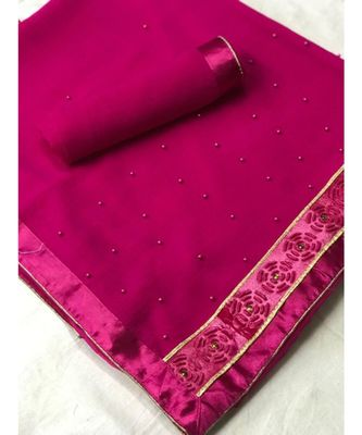 Pink Plain chiffon saree with blouse