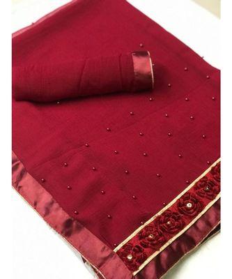 Maroon Plain chiffon saree with blouse