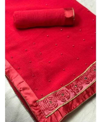 Red Plain chiffon saree with blouse