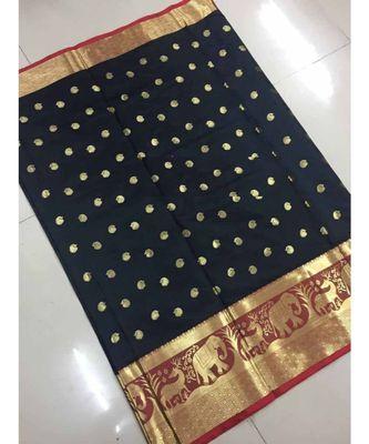 Black woven banarasi cotton saree with blouse