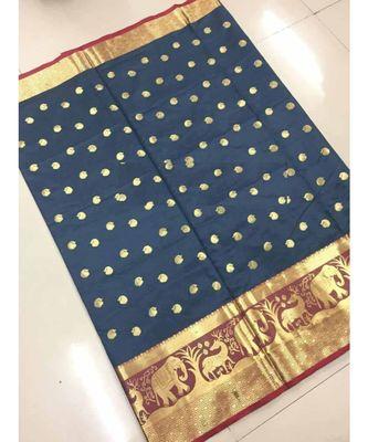 Grey woven banarasi cotton saree with blouse