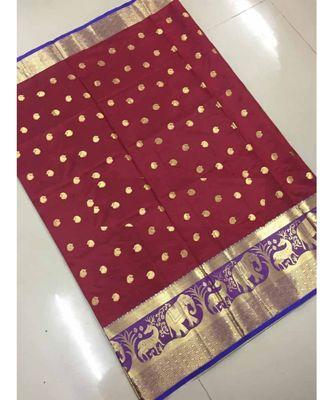 Maroon woven banarasi cotton saree with blouse