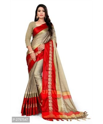 brown woven cotton saree with blouse