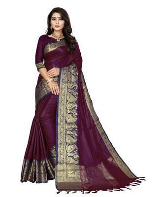 Purple woven cotton saree with blouse
