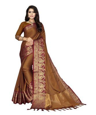Orange woven cotton saree with blouse