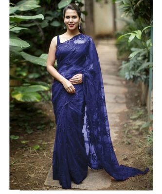 blue woven net saree with blouse