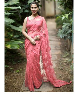 Peach woven net saree with blouse