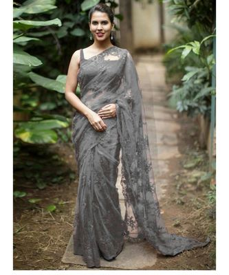 Grey woven net saree with blouse