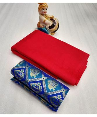 Red Plain silk blend saree with blouse