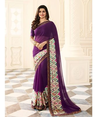 Purple printed silk blend saree with blouse