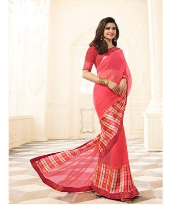 Peach printed silk blend saree with blouse