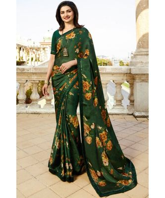 dark green printed silk blend saree with blouse