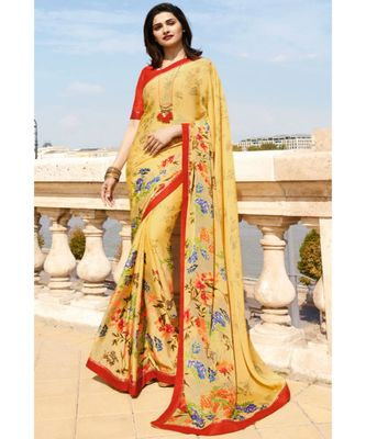 Yellow printed silk blend saree with blouse