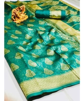 emerald woven silk blend saree with blouse