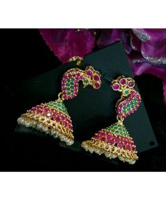Gorgeous multi colour stones peacock jumkas