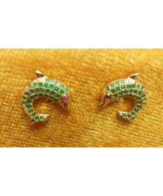 Green stone fish shape studs