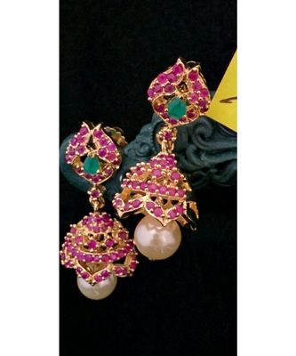 Pink stones  jhumkas