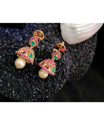 Georgeous High Gold Plated Multicolour Stones  Jhumkas