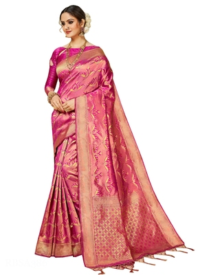 Pink Brasso Kanchipuram Silk Saree With Blouse