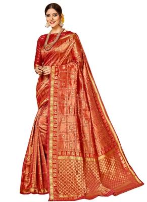 Brown brasso kanchipuram silk saree with blouse