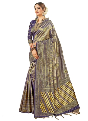Blue brasso kanchipuram silk saree with blouse