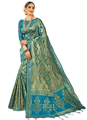 Blue brasso kanchipuram silk saree with blouse