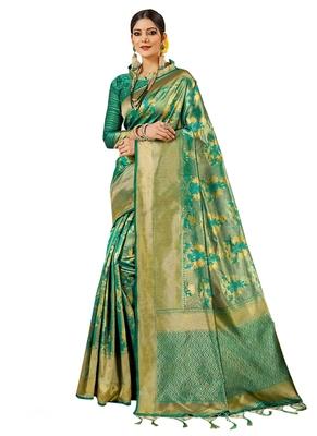Green brasso kanchipuram silk saree with blouse