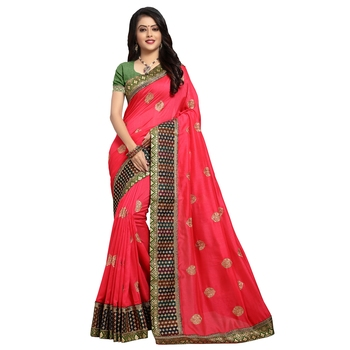 Light red embroidered art silk saree with blouse