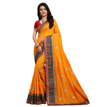 Dark yellow embroidered art silk saree with blouse