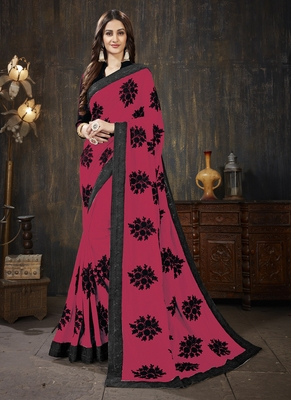 Dark pink embroidered silk saree with blouse