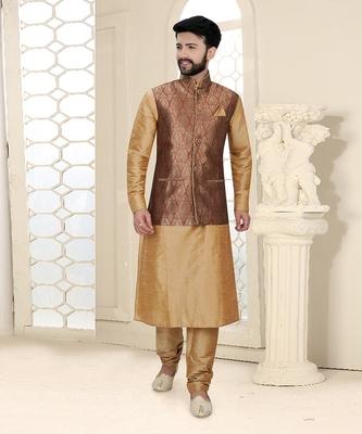 Mens chickoo kurta set with brown woven jacket