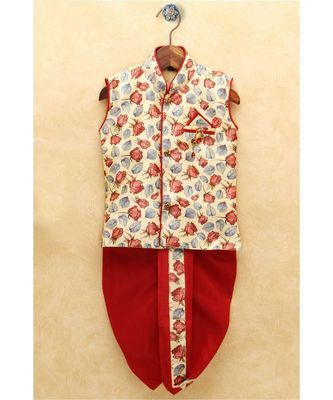 Boys Red Dhoti Kurta Set