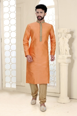 Mens orange jacquard kurta set